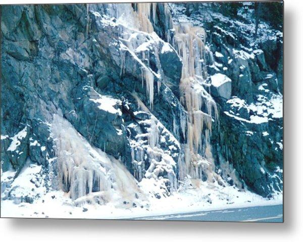 Frozen Waterfall Metal Print