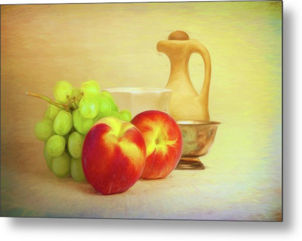 Fruit And Dishware Still Life Metal Print