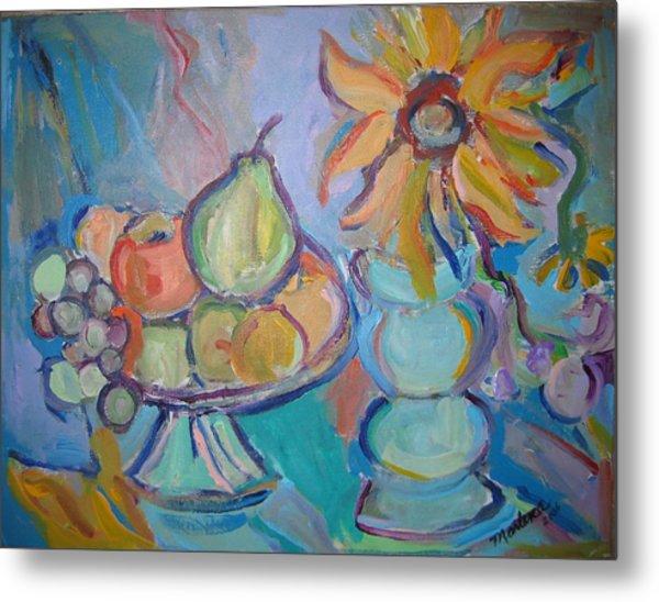 Fruit And Flowers 2 Metal Print by Marlene Robbins