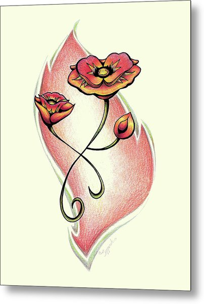 Vibrant Flower 1 Poppy Metal Print