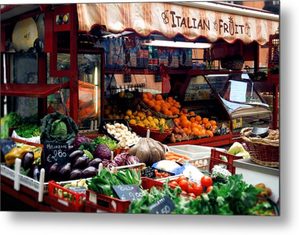 Fruit Stand Metal Print by Warren Home Decor