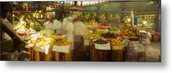 Fruits And Vegetables Stall In A Metal Print