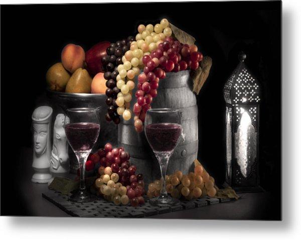 Fruity Wine Still Life Selective Coloring Metal Print by Tom Mc Nemar
