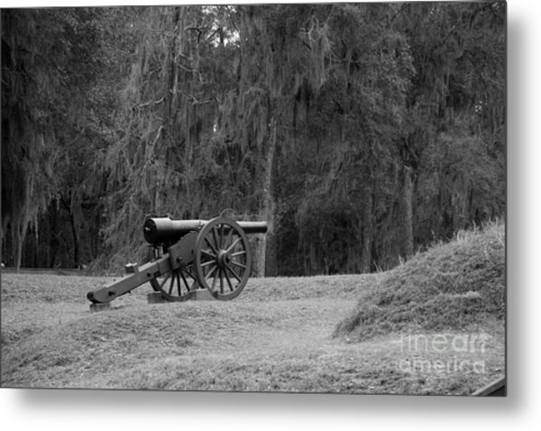 Ft. Mcallister Cannon 2 Black And White Metal Print