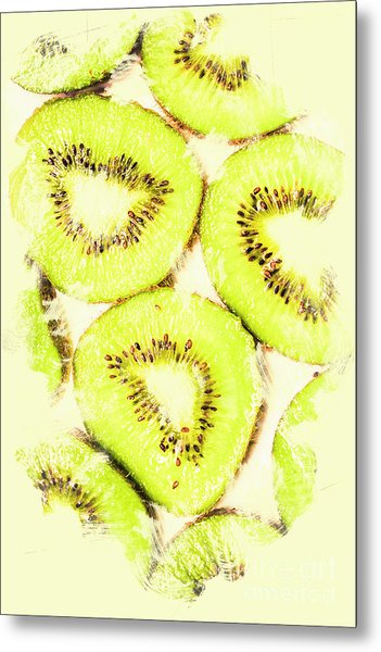 Full Frame Shot Of Fresh Kiwi Slices With Seeds Metal Print