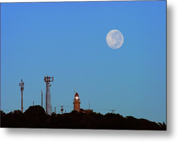 Full Moon And Lighthouse- St Lucia Metal Print by Chester Williams