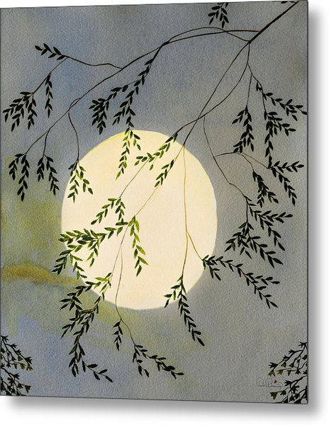 Moon And Tree Branch Painting Metal Print