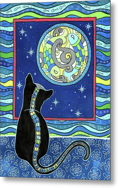 Pisces Cat Zodiac - Full Moon Metal Print