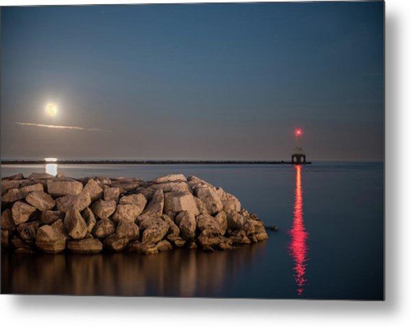 Full Moon In Port Metal Print