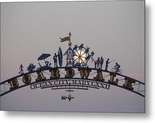Full Moon In The Boardwalk Arch Ferris Wheel Metal Print