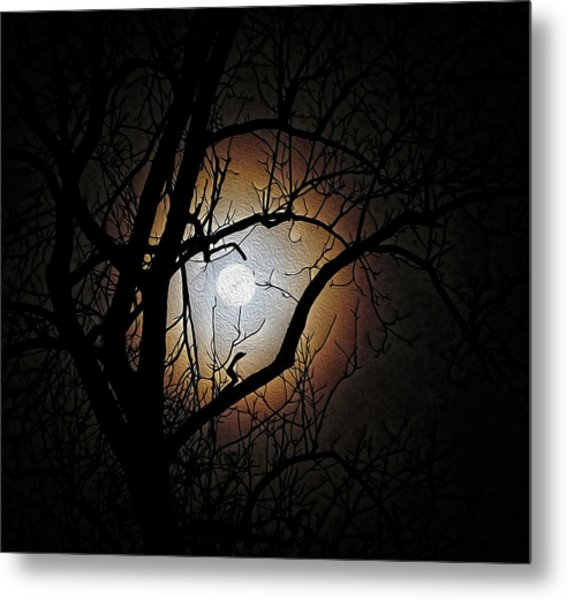 Full Moon Oil Painting Metal Print