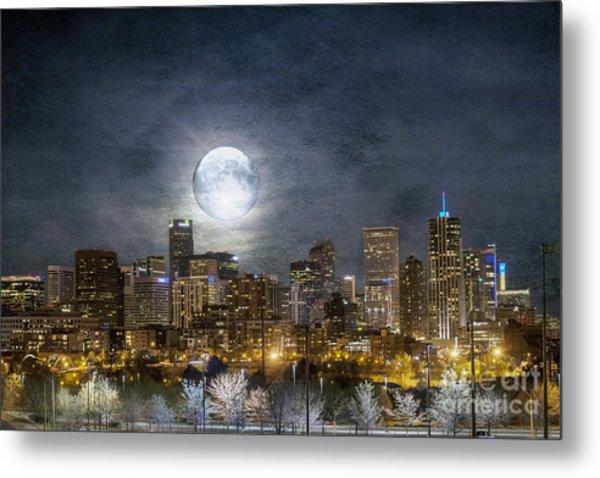 Full Moon Over Denver Metal Print