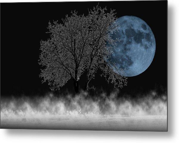 Full Moon Over Iced Tree Metal Print