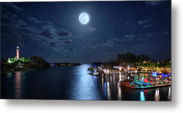 Full Moon Over Jupiter Lighthouse And Inlet In Florida Metal Print