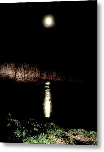 Full Moon Over Piermont Creek Metal Print