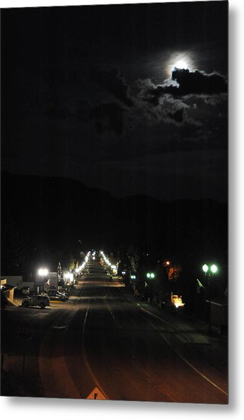Full Moon Over Red River Metal Print