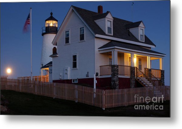 Full Moon Rise At Pemaquid Light, Bristol, Maine -150858 Metal Print