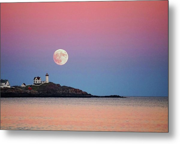 Full Moon Rising At Nubble Light Metal Print