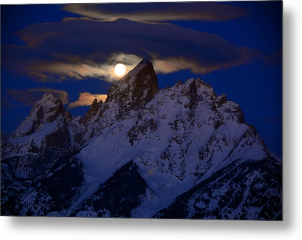 Full Moon Sets Over The Grand Teton Metal Print