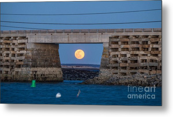 Full Moon Under The Cribstone Bridge Metal Print by Benjamin Williamson