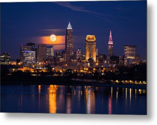 Full Moonrise Over Cleveland Metal Print