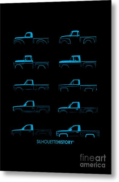 Fullsize Pickup Silhouettehistory Metal Print by Balazs Iker