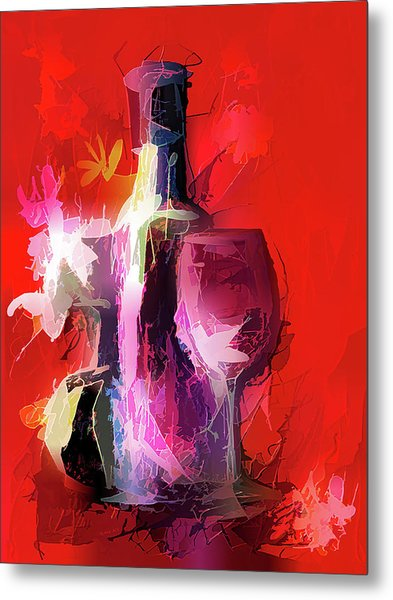 Fun Colorful Modern Wine Art   Metal Print