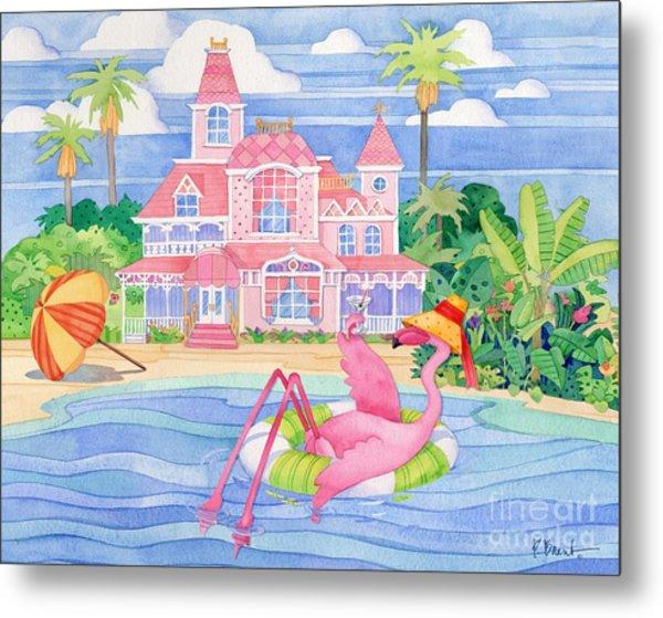 Funky Flamingo Hotel I Metal Print by Paul Brent