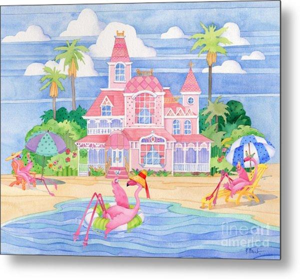 Funky Flamingo Hotel II Metal Print by Paul Brent