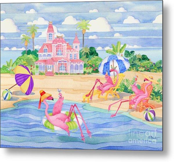 Funky Flamingo Hotel IIi Metal Print by Paul Brent