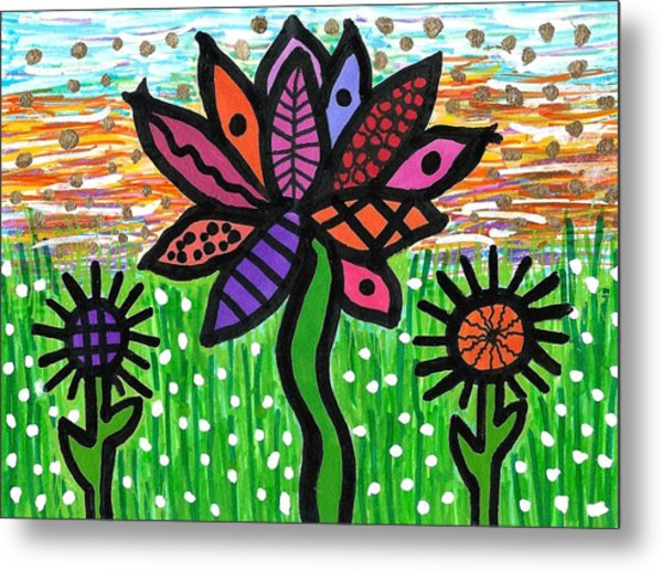 Funky Flowers At Sunset Metal Print