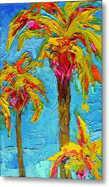 Funky Fun Palm Trees - Modern Impressionist Knife Palette Oil Painting Metal Print