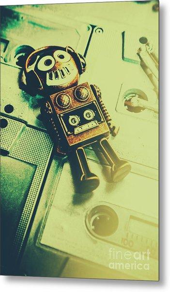 Funky Mixtape Robot Metal Print