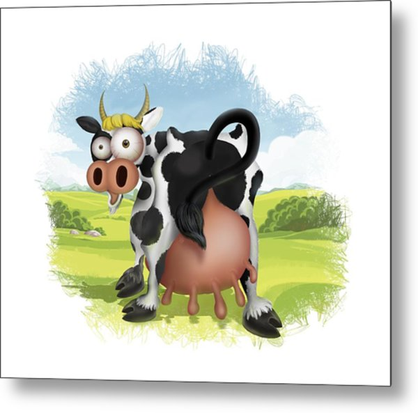 Metal Print featuring the drawing Funny Cow by Julia Art