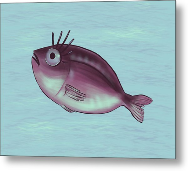 Funny Fish With Fancy Eyelashes Metal Print