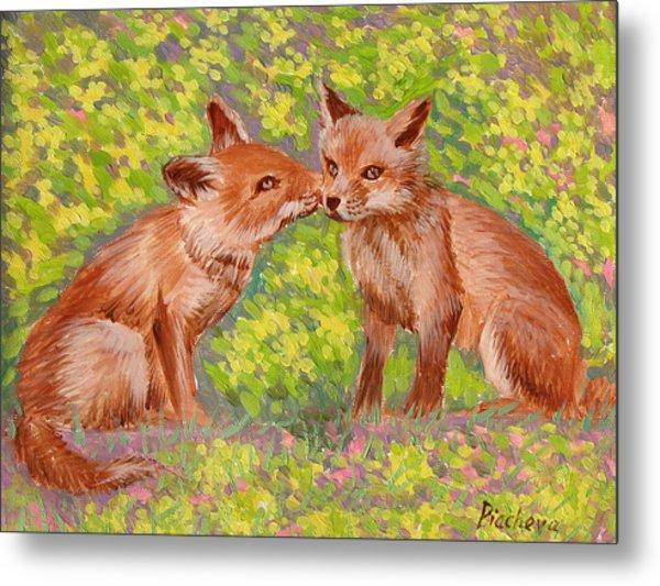 Funny Foxes .2007 Metal Print by Natalia Piacheva