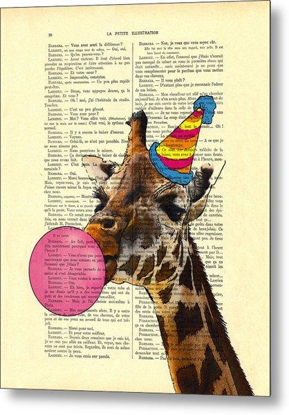 Funny Giraffe, Dictionary Art Metal Print