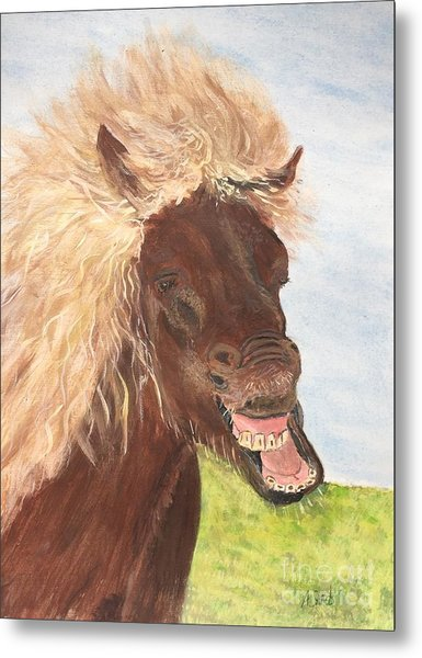 Funny Iceland Horse Metal Print
