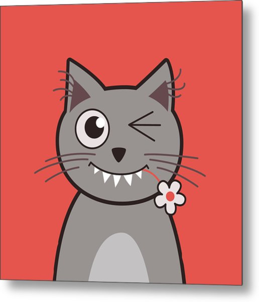 Funny Winking Cartoon Kitty Cat Metal Print