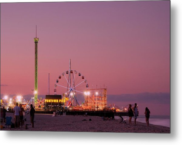 Funtown Pier At Sunset IIi - Jersey Shore Metal Print