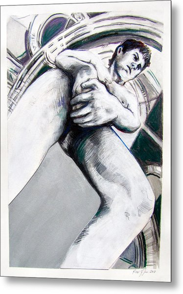 Metal Print featuring the drawing Future Time Traveler Peter Pan by Rene Capone