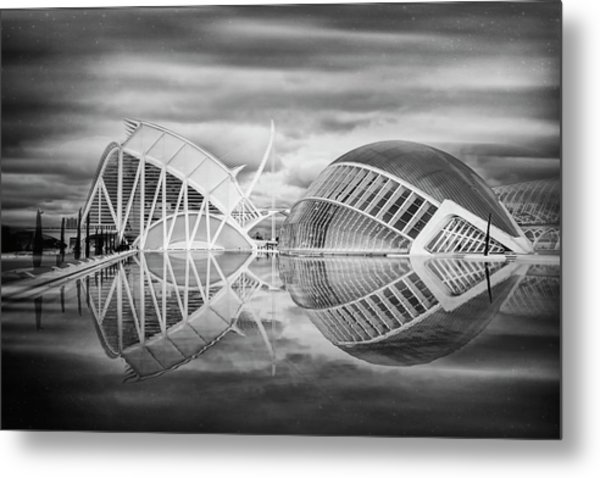 Futuristic Architecture Of Modern Valencia Spain In Black And Wh Metal Print by Carol Japp