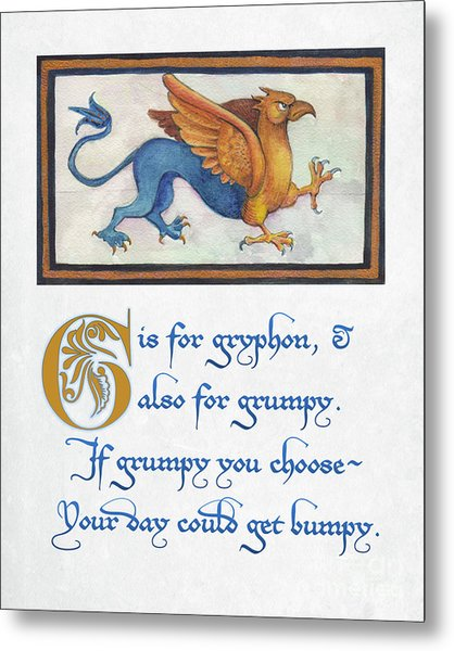 G Is For Gryphon Metal Print