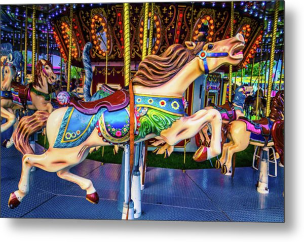 Galloping Carrousel Horse Metal Print