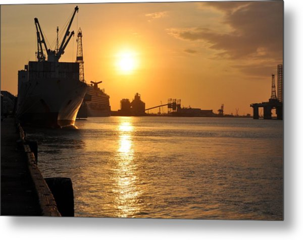 Galveston Harbor Metal Print