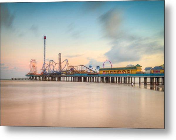Galveston Pleasure Pier Sunset Metal Print
