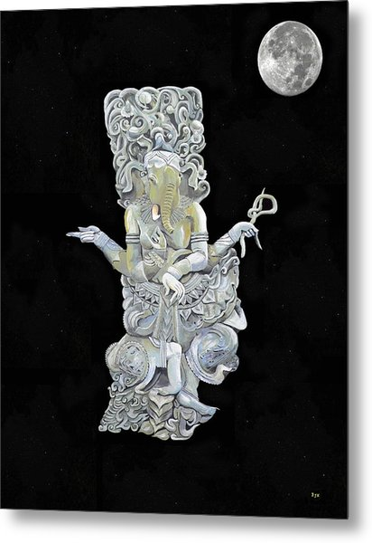 Metal Print featuring the mixed media Ganesh With Moon The Hindu Elephant God. by Eric Kempson