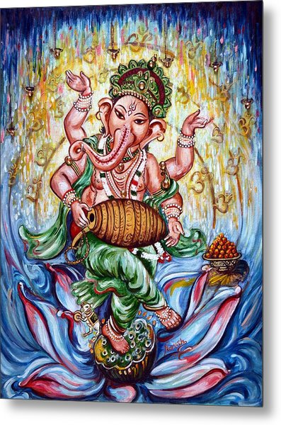 Ganesha Dancing And Playing Mridang Metal Print