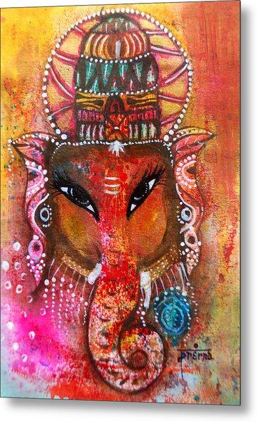 Metal Print featuring the mixed media Ganesha by Prerna Poojara