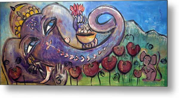 Ganesha With Poppies Metal Print